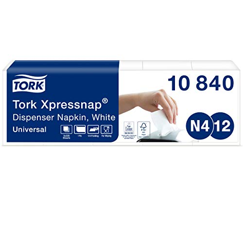 Tork 10840 Xpressnap Spenderserviette unbedruckt / Weiße Papierserviette für Serviettenspender N4 / 8x1125 Stück