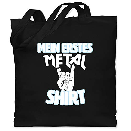 Statement Sprüche Kinder - Mein erstes Metal Shirt weiß - Unisize - Schwarz - Fun - WM101 - Stoffbeutel aus Baumwolle Jutebeutel lange Henkel