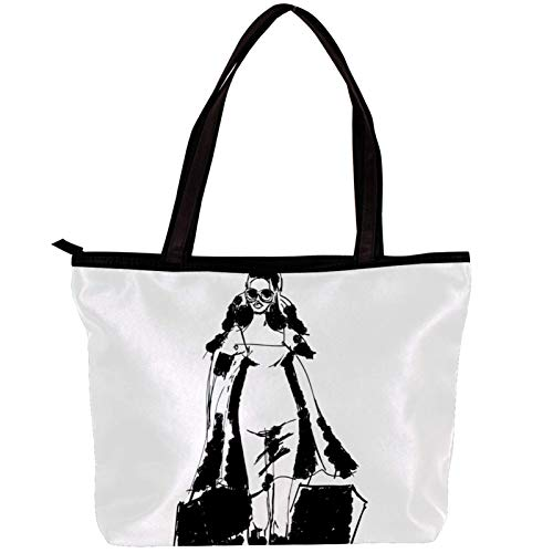 Vockgeng Damenhandtasche Frauen Trenchcoat Einzigartige bedruckte Design Twill Stoff Tote Umhängetaschen weich 30x10.5x39cm