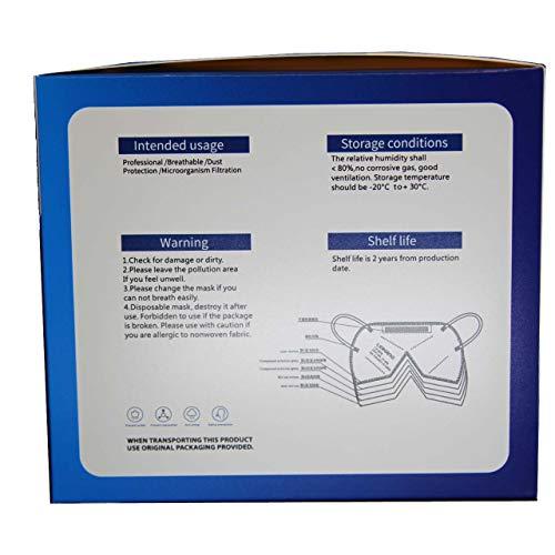 LEIKANG FFP3 Mund- und Nasenschutz Maske mit EC Zertifizierung, 5 lagige Maske ohne Ventil, Staub- und Partikelschutzmaske, medizinische Schutzmaske mit hoher BFE-Filtereffizienz ≥ 98, 20 Stück