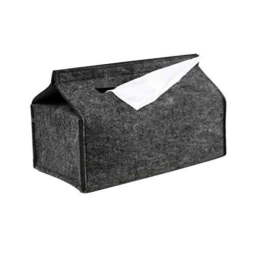 smile-bi Tissue Box Simple Soft Wool Felt Trays Household Anti-Static Trays Black Gray Solid Color Car Paper Towel Box,Black
