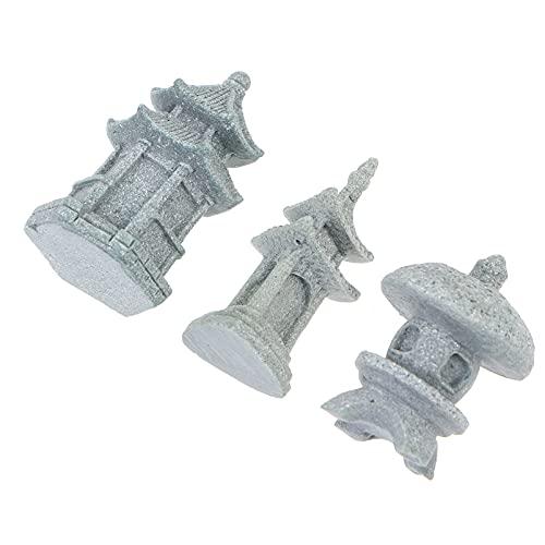 Happyyami 3 Piezas de Linterna de Pagoda Miniatura Linterna de Piedra Japonesa para Decoraciones de Ppatio Figuras de Hadas Aire Libre para Accesorios de Jardín de Hadas Miniatura