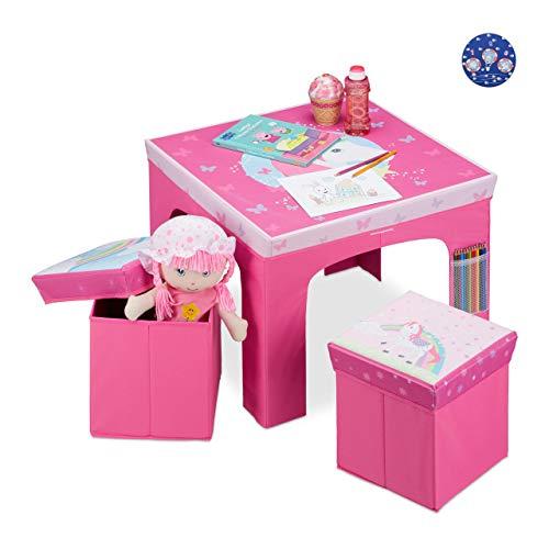 Relaxdays Sitzgruppe Kinder, faltbar, Kindertisch, Sitzhocker mit Stauraum, Sitzgelegenheit Kinderzimmer, Einhorn, pink