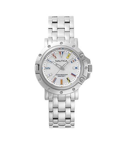 Nautica Damen Datum klassisch Quarz Uhr mit Edelstahl Armband NAPPRH005