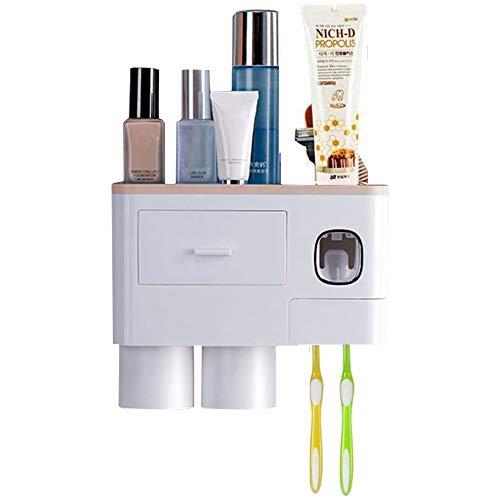 WREWING Soporte para cepillo de dientes multifunción, montaje en pared, dispensador automático de pasta de dientes con dos tazas y cajones, organizador de cosméticos para baño (2 tazas, rosa)