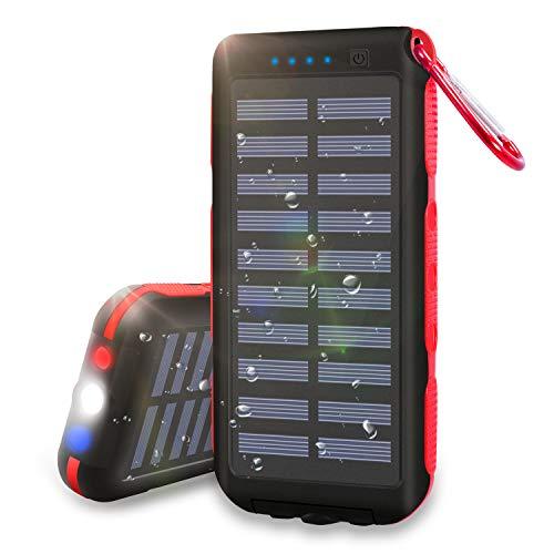 Externer Akku, Solar-Ladegerät, 25000 mAh, tragbar, Power Bank, wasserdicht, mit 3 Ausgängen, LED-Taschenlampe und SOS Warnleuchte für Outdoor-Aktivitäten