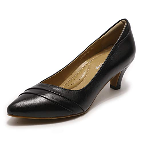 Mona flying Women's Leather Med Heels Pumps Dress Shoes Pointed Toe for Formal Office Ladies