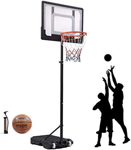 """Portable Basketball Hoop & Goal Basketball System Basketball Equipment Height Adjustable 65""""-104"""" Come with Basketball & Ball Pump for Youth Kids Indoor Outdoor Use … (Black)"""