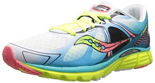 Saucony Women's Kinvara 6 Running Shoe, White/Blue/Coral, 10 M US