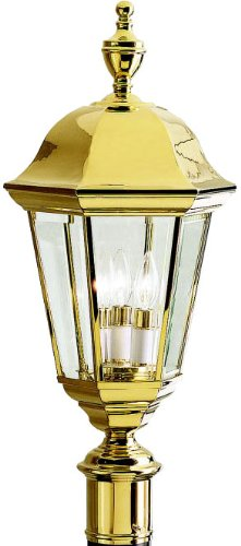 Kichler 9989PB, Grove Mill Solid Brass Outdoor Post Lighting, 180 Total Watts, Polished Brass