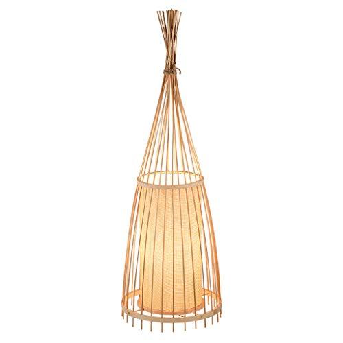 Lámpara de Pie Lámpara de pie LED china Sala de estar Sala de té Lámpara de bambú de tejer Estudio creativo Sala de piano Mesa de centro Lámpara de pie vertical LED Lámpara de Suelo ( Size : L )