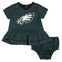 NFL Philadelphia Eagles Team Jersey Dress and Diaper Cover, green/black Philadelphia Eagles, 18M
