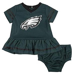 NFL Philadelphia Eagles Team Jersey Dress and Diaper Cover, green/black Philadelphia Eagles, 18M