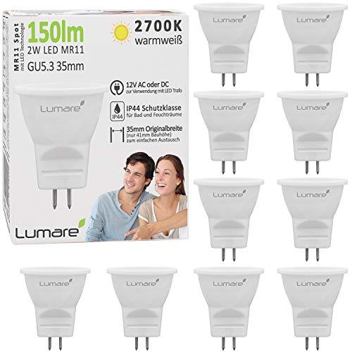 10x Lumare MR11 GU5.3 35mm LED Spot 2W Ersetzt 15W Halogen Reflektor Lampe 150lm 2700K Energiesparlampe warmweiß