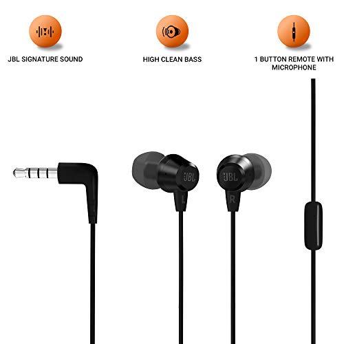 JBL C50HI by Harman in-Ear Headphones with Mic (Black)