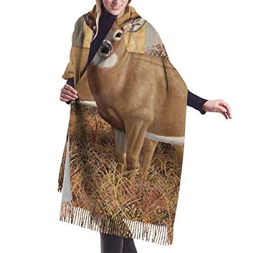 Xiangli - Bufanda de cachemira para mujer y hombre, ligera y de gran tamaño, diseño de ciervo