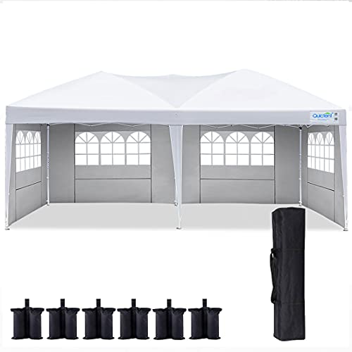 Quictent 10x20 Ft Ez Pop Up Canopy Wedding Party Tent with Sidewalls,Folding Instant Shade Canopy Tents for Outdoor Parties,6 Sand Bags Included(White)