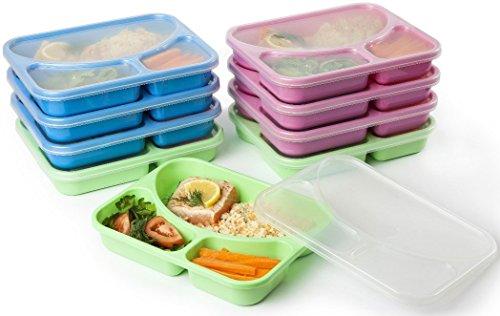Life Story 9pcs Boîte Repas Alimentaires Préparation, 3 Compartiments Bento, sans BPA, Réutilisables, Empilable, Compatible Micro-Onde et Congélateur, Lave-Vaisselle (Cuisine)