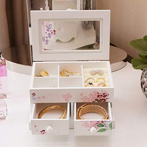 Joyero de 2 capas con 2 cajones de madera impresa, organizador de joyas, expositor de joyas, pulseras, estuche de almacenamiento vintage para regalo y joyería (color impresión, tamaño: talla única)