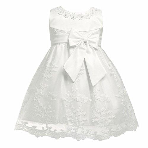 iiniim Baby Mädchen Prinzessin Kleid Blumenmädchenkleid Taufkleid Festlich Kleid Hochzeit Partykleid Festzug Babybekleidung Gr. 68-92 Ivory 80-86