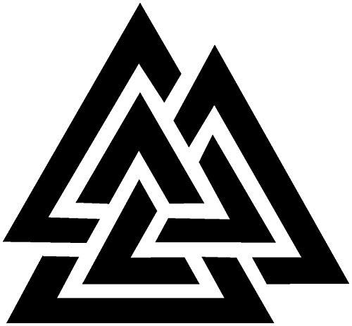 Samunshi® Aufkleber Valknut Vikings Wikinger für Auto Motorrad in 13 Größen und 25 Farben (15x15cm schwarz)