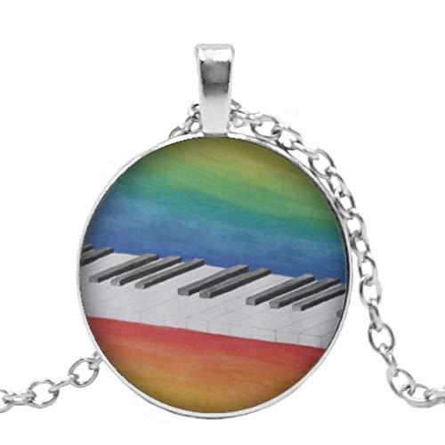 XCWXM Kette Damen Herzförmiger Piano Love Pattern Anhänger Runde Glas Konvexe Klaviertastatur Glaskuppel 1 Schwarz Null