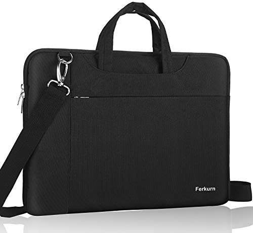 Ferkurn Laptop Case Bag 15 15.6 Inch Laptop Carrying Case Compatible with MacBook Pro 16 Inch/Pavilion 15/ Toshiba/Asus/ThinkPad/Samsung,Water Resistant Protective Computer Shoulder Sleeve,Black