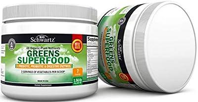 46 Organic Plant Nutrients Greens Superfood + Prebiotic, Probiotic & Digestive Enzymes - Super Greens for Energy & Digestive Support - Fruit & Veggie Powder - 3 Servings of Vegetables per Scoop?