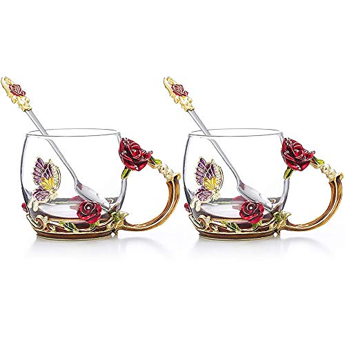 COAWG Glass Tea Cup with Spoon, 2-Pack Red Rose Enamel Handmade Flower and Diamond Butterfly Colorful Unique Gift Ideas Clear Glass Coffee Mugs Glass Cup Birthday Wedding