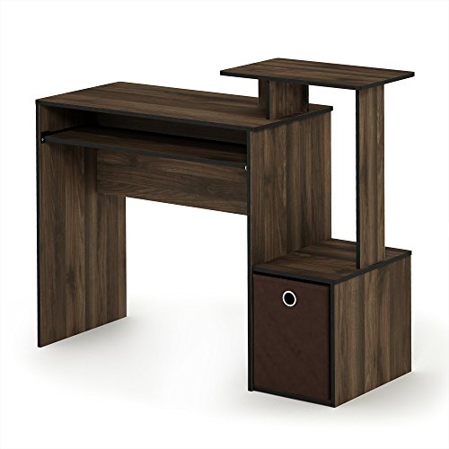 FURINNO Econ Multipurpose Home Office Computer Writing Desk, Columbia Walnut/Dark Brown
