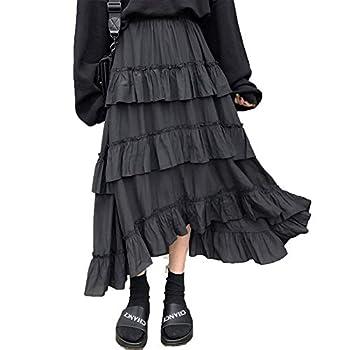 Midi Long Skirts Womens Maxi Skirt Goth Lolita Summer High Waisted Asymmetrical High Low Ruched Ruffle Skirts rok-Black-One Size