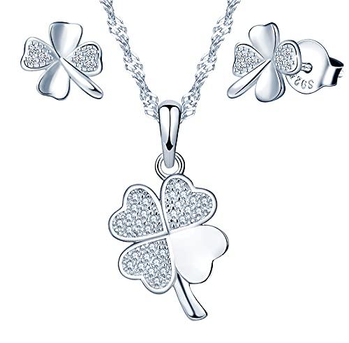 Yumilok-Juego de trébol de cuatro hojas de la suerte con colgante de circonita de plata esterlina S925 para pendientes de plata de ley 925 para mujer juego de trébol de cuatro hojas de la suerte