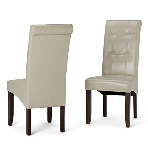 Simpli Home Cosmopolitan Contemporary Deluxe Tufted Parson Chair (Set of 2) in Satin Cream Faux Leather