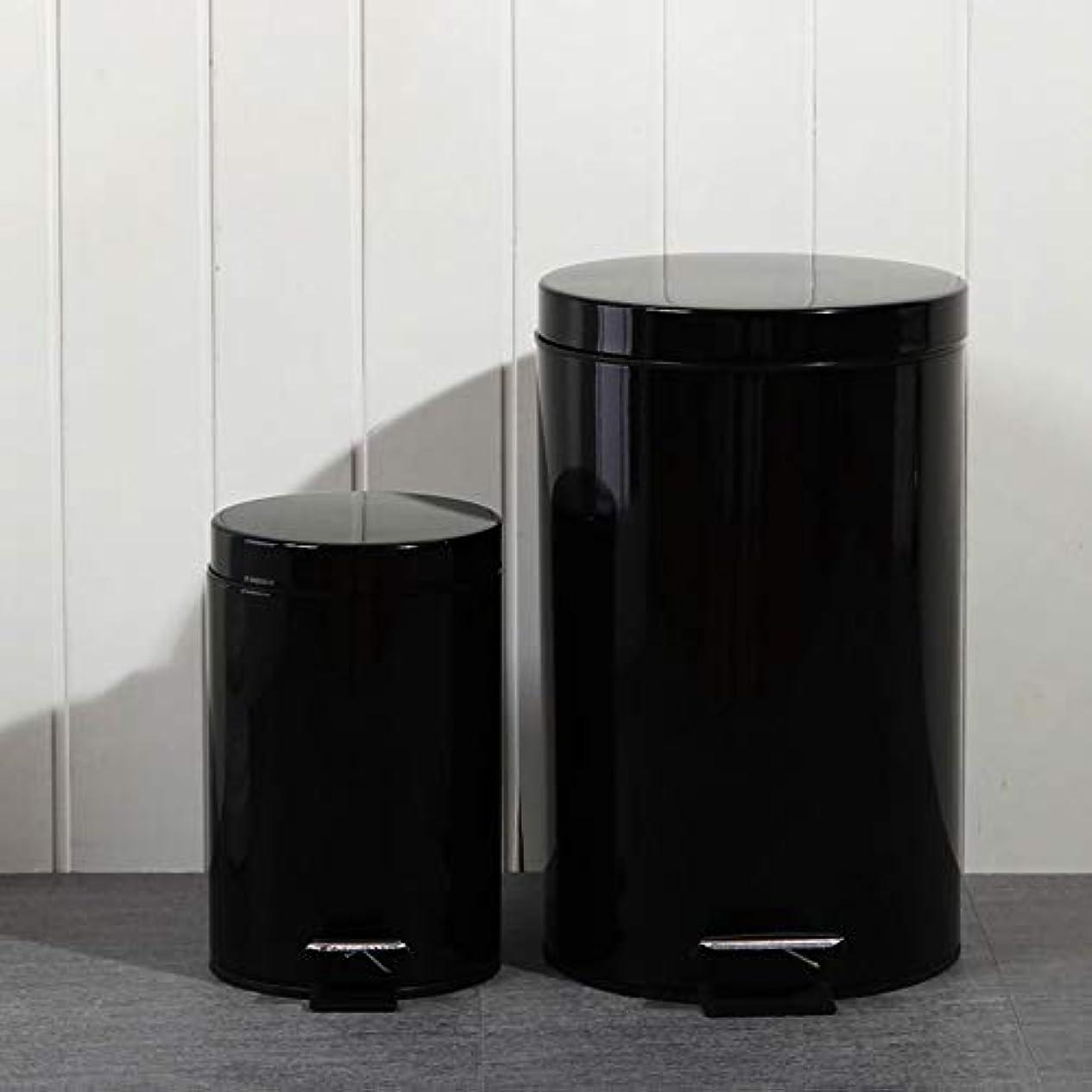 擁する言い直す静かにL-R-H シンプルな黒のゴミ箱は、蓋ゴミ箱付きのバスルームキッチンごみ箱をゴミ箱ペダルことができ (Color : Black)