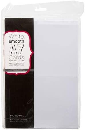 "Darice Heavyweight A7 Cards W/Envelopes (5.25""X7.25"") 50/Pkg, White"