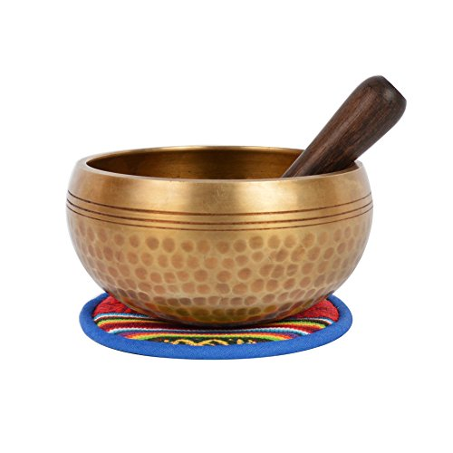 Tibetaanse handhamer Singing Bowl met bijpassende etnische zak. 12 cm x 12 cm x 7 cm goud