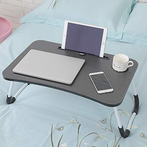 Wooden-Life Laptop Bed Table, Breakfast Tray with Foldable Legs, Portable Lap Standing Desk, Notebook Stand Reading Holder for Couch Sofa Floor Kids Black