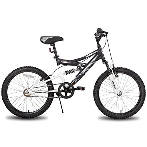 JOYSTAR Contender - Bicicleta de montaña para niños (20 pulgadas, doble suspensión, marco de acero de 15 pulgadas y 1 marcha, ruedas de 20 pulgadas, incluye soporte), color negro