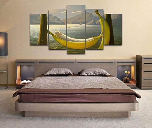 65Tdfc Leinwanddrucke Banane In Einer Hängematte Gemalt Leinwand Wandkunst Aufkleber Wohnkultur 5 Stück