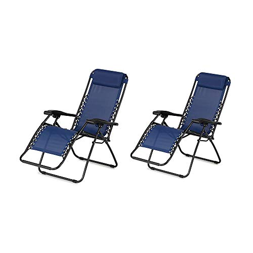 Caravan Canopy Infinity Zero Gravity Steel Frame Patio Deck Chair, Blue (Pair)