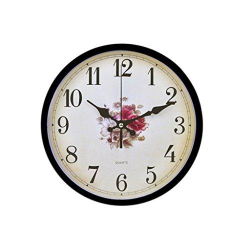 DBL 10 Pulgadas Reloj de Pared Moda Simple Creativo Patrón de Flores Reloj Redondo Tipo de Pared Sala de estar Dormitorio Hogar Moderno Reloj de Cuarzo Mudo reloj de pared ( Size : Style one )