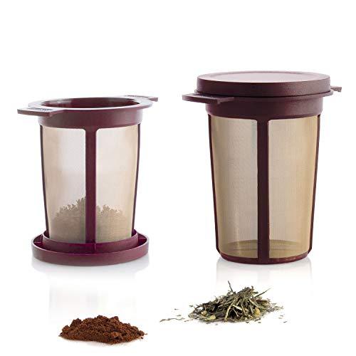 Finum BREWING BASKET Dauerfilter für Tee und Kaffee - Permanentfilter mit Gewebe aus Edelstahl - Teefilter und Kaffeefilter - Tassen Filteraufsatz Größe L, Rot
