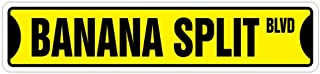 [SignJoker] BANANA SPLIT Street Sign ice cream shop lover neon Wall Plaque Decoration