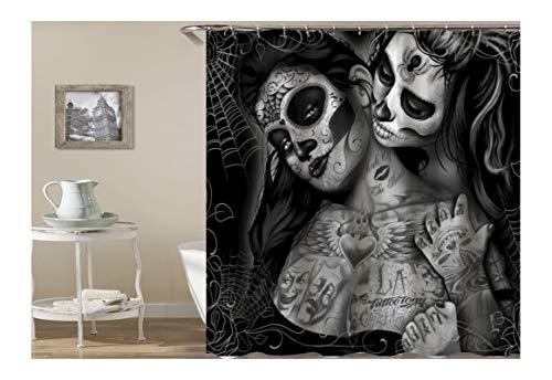 KnSam Duschvorhang Anti-Schimmel Wasserdicht Gardinen an Badewanne Bad Vorhang für Badezimmer Gothic Totenkopf Tattoo Frauen 100prozent PEVA inkl. 12 Duschvorhangringen 180 x 200 cm