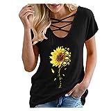 Women Short Sleeve T Shirt Skull Sunflower Graphic You are My Sunshine Letter Print Strappy V Neck Shirts Tops Black