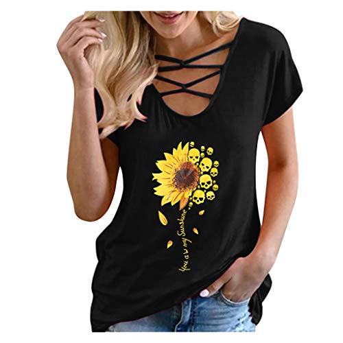 여성 짧은 소매 T 셔츠 해바라기 그래픽 당신은 나의 선샤인 레터 인쇄 스트래피 V 목 셔츠 탑
