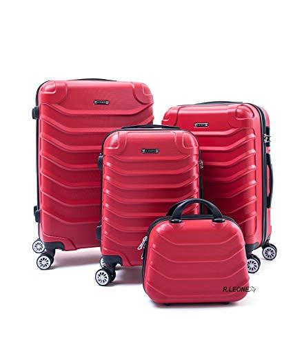 R.Leone Valigia da 1 pezzo Fino a Set 4 Trolley Rigido grande, medio, bagaglio a mano e beauty case 4 ruote in ABS 2026 (Rosso, Set 4 XS X M L)