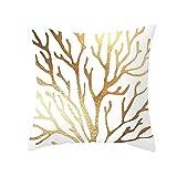Beydodo Cojines para SofaRamas de Árbol,Fundas Cojin 50x50 cm Funda Decorativa Cojin Blanco Oro
