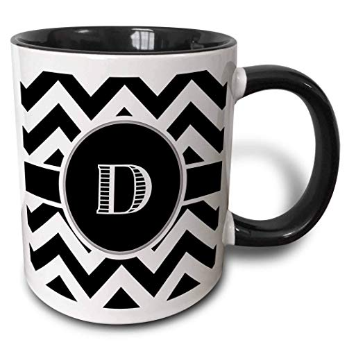 Taza de café divertida en blanco y negro Chevron Monogram Initial D Taza de cerámica, 11 oz