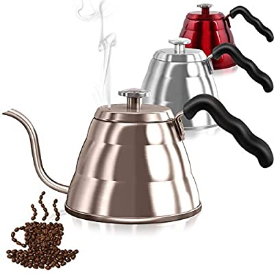 Pour Over Coffee Kettle with Thermometer-Flow Gooseneck Tea Kettles-Brew Barista-Standard Hand Drip Coffee Suitable all Stovetops and Induction,BPA Free, Carnival,Father's Day Gifts, 34oz,Gold